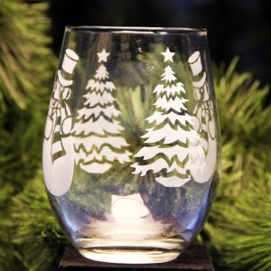 TREE SNOWMAN GLASS 500