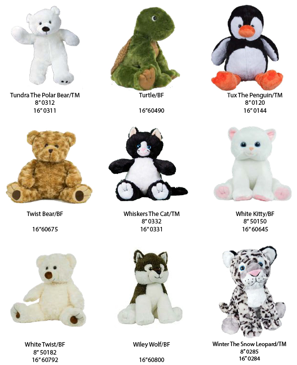 788ec4cd008 Choose from a variety of bears and animals. Bears come with stuffing